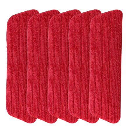 "5 Pack Replacement Washable Blue Microfiber Mop Cleaning Pads for 15"" Flat Mop/Base Mop Pads Heads 16.5"" x 5.5"" for Wet or Dry Floors Cleaning"