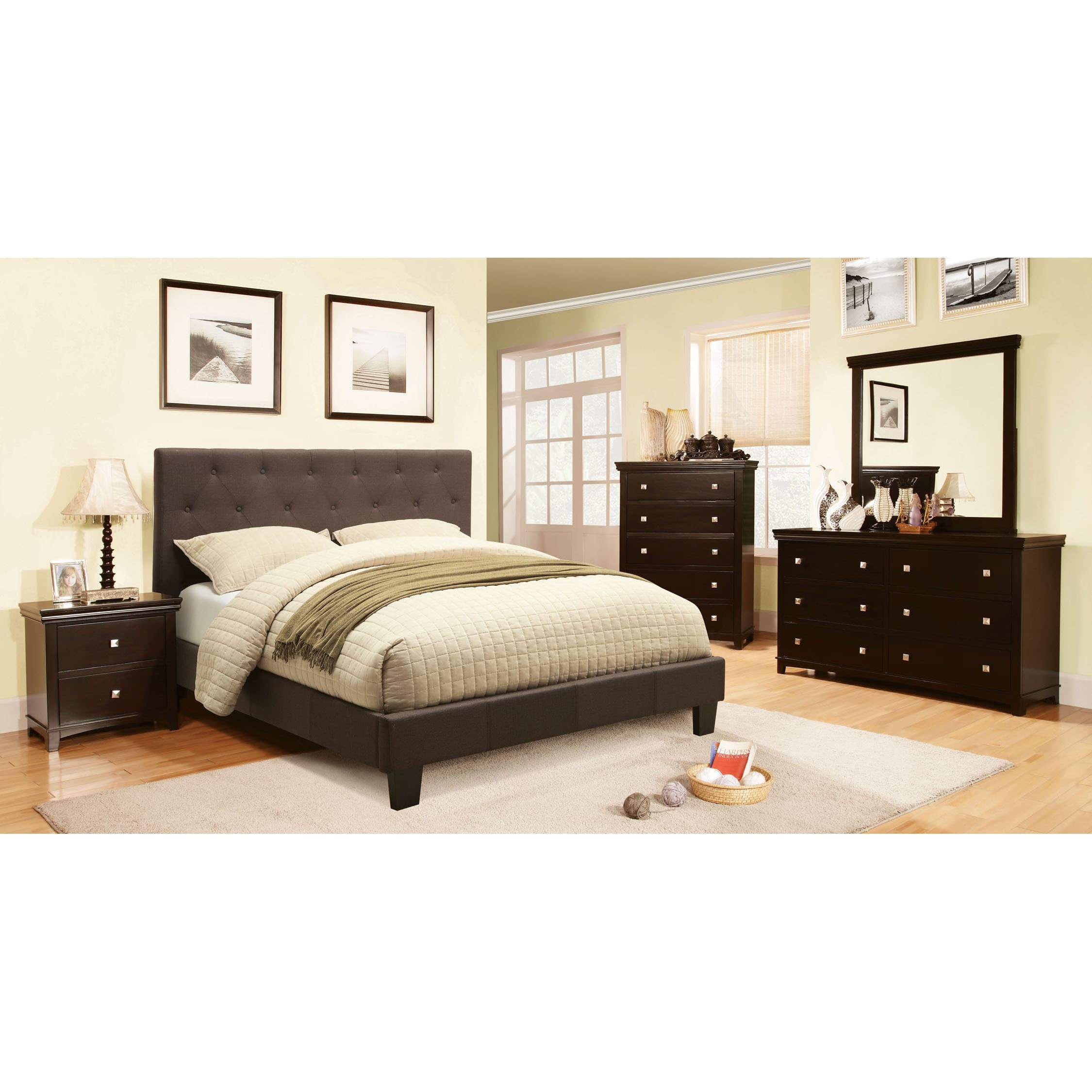 Charming Furniture Of America Perdella 4 Piece Grey Low Profile Bedroom Set