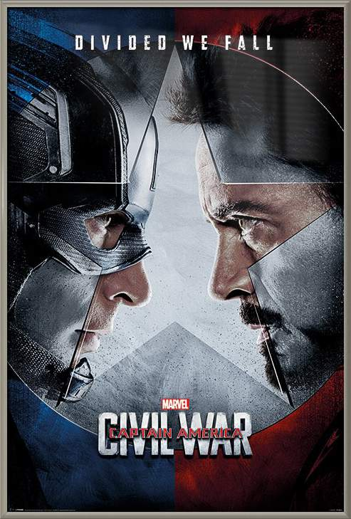 "Captain America 3: Civil War Framed Marvel Movie Poster   Print (Regular Style Divided We Fall) (Size: 24"" x... by"