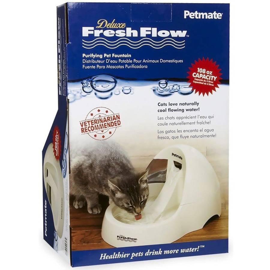 """Petmate Deluxe Fresh Flow Cat Bowl, 50 oz, Bleached Linen, 10.9"""" x 7.6"""" x 5.2"""""""