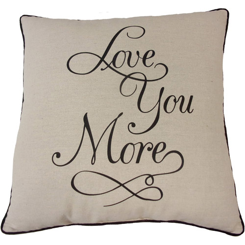 """Mainstays Love You More Decorative Throw Pillow, 18"""" x 18"""