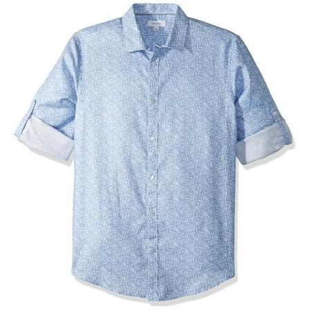 Calvin Klein NEW Blue Men's Size XL Button Down Roll Up Tab Shirt