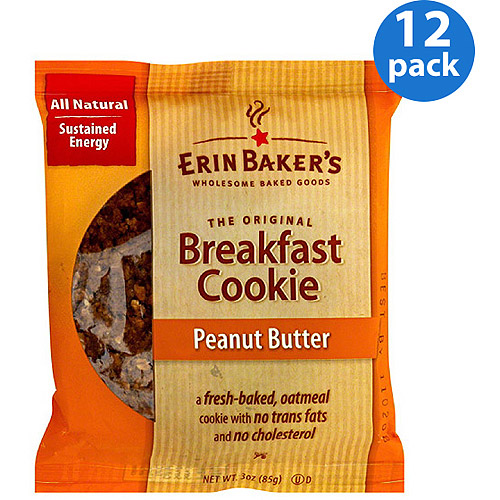 Erin Baker's Peanut Butter Breakfast Cookie, 3 oz, (Pack of 12)