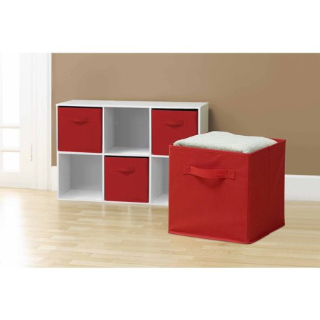 Sorbus Foldable Storage Cube Basket Bin, 6pk, Red
