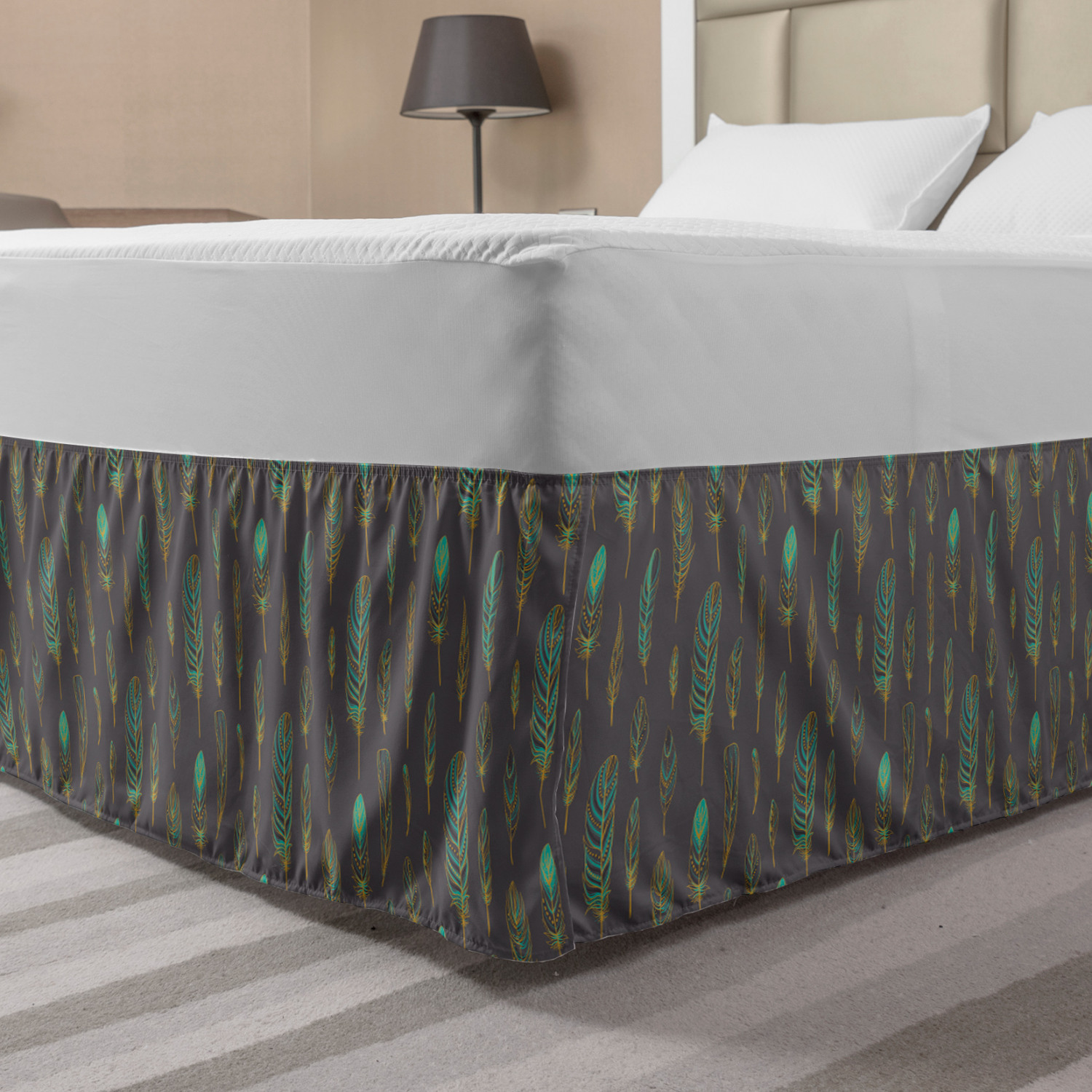 Feather Bed Skirt Boho Style Pattern Sketch Elastic Bedskirt Dust Ruffle Wrap Around For Bedding Decor 4 Sizes Purple Grey Turquoise By Ambesonne Walmart Com Walmart Com