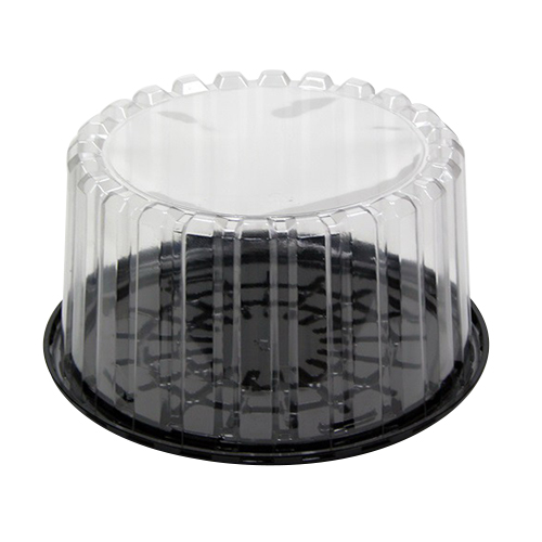 "Pactiv Showcake APET Plastic Round Cake Container Black/Clear, 8"" Inside 