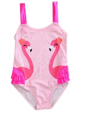 stylesilove Kid Girl One Piece Swan Print Ruffle Swimsuit Beachwear Bathing Suit (4T, Pink)