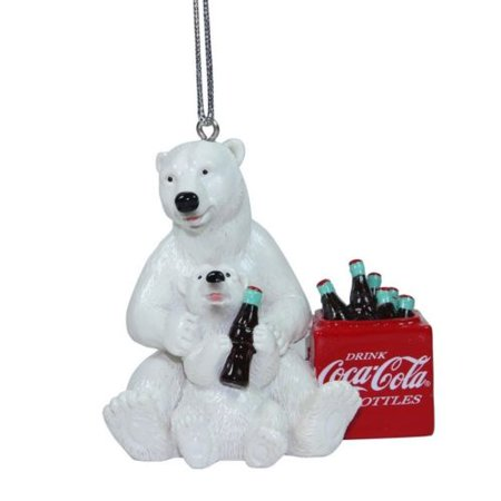 Cubs Christmas Ornament (Licensed Coca Cola Polar Bear Cub at Cooler Christmas Tree Hanging Ornament COKE Ice Xmas)