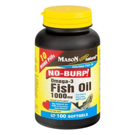 Mason Natural Omega-3 Fish Oil No-Burp! Softgels, 1000 Mg, 100