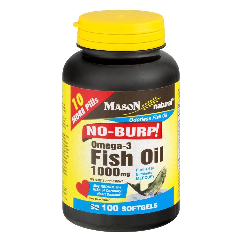 Mason Natural No-Burp Omega-3 Fish Oil Softgels, 1000 Mg, 100 Ct