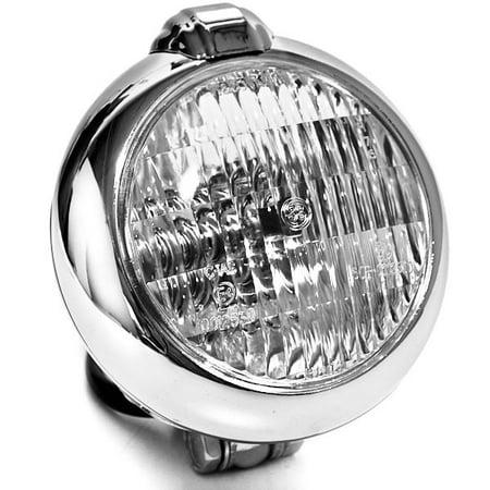 Kapsco Moto Universal Chrome Motorcycle Headlight with Bracket For Yamaha Road Star Warrior Midnight XV - image 7 of 7