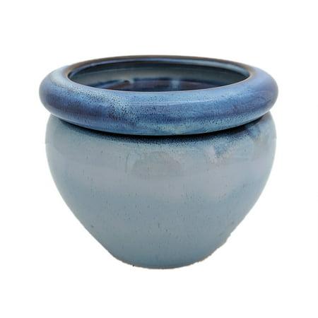 Round Self Watering Glazed Ceramic Pot - Light Blue - 6 1/4 x 4 3/4