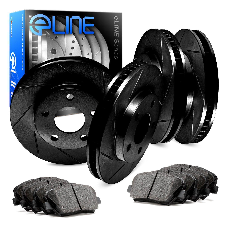 COMPLETE KIT Black Edition Slotted Brake Rotors /& Ceramic Brake Pads