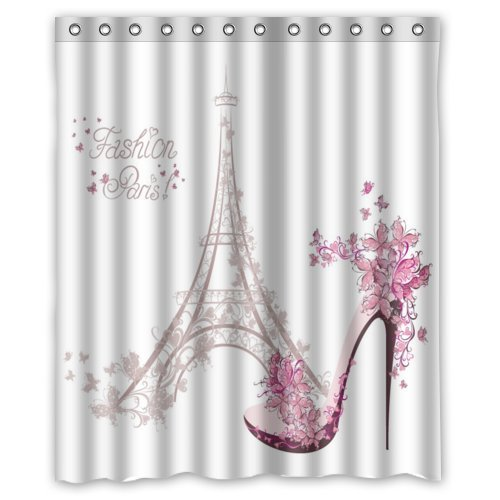 GreenDecor Paris Eiffel Tower Waterproof Shower Curtain