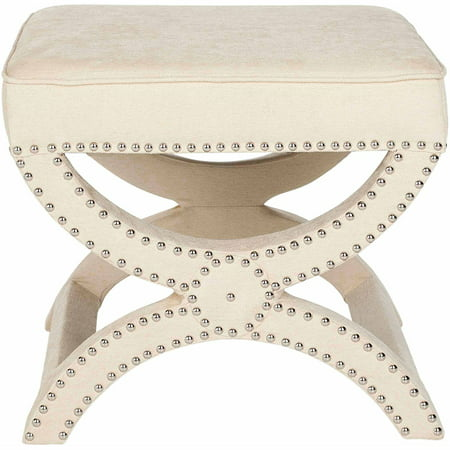 Safavieh Mystic Glam Upholstered Square Ottoman w/ Silver Nail Heads ()