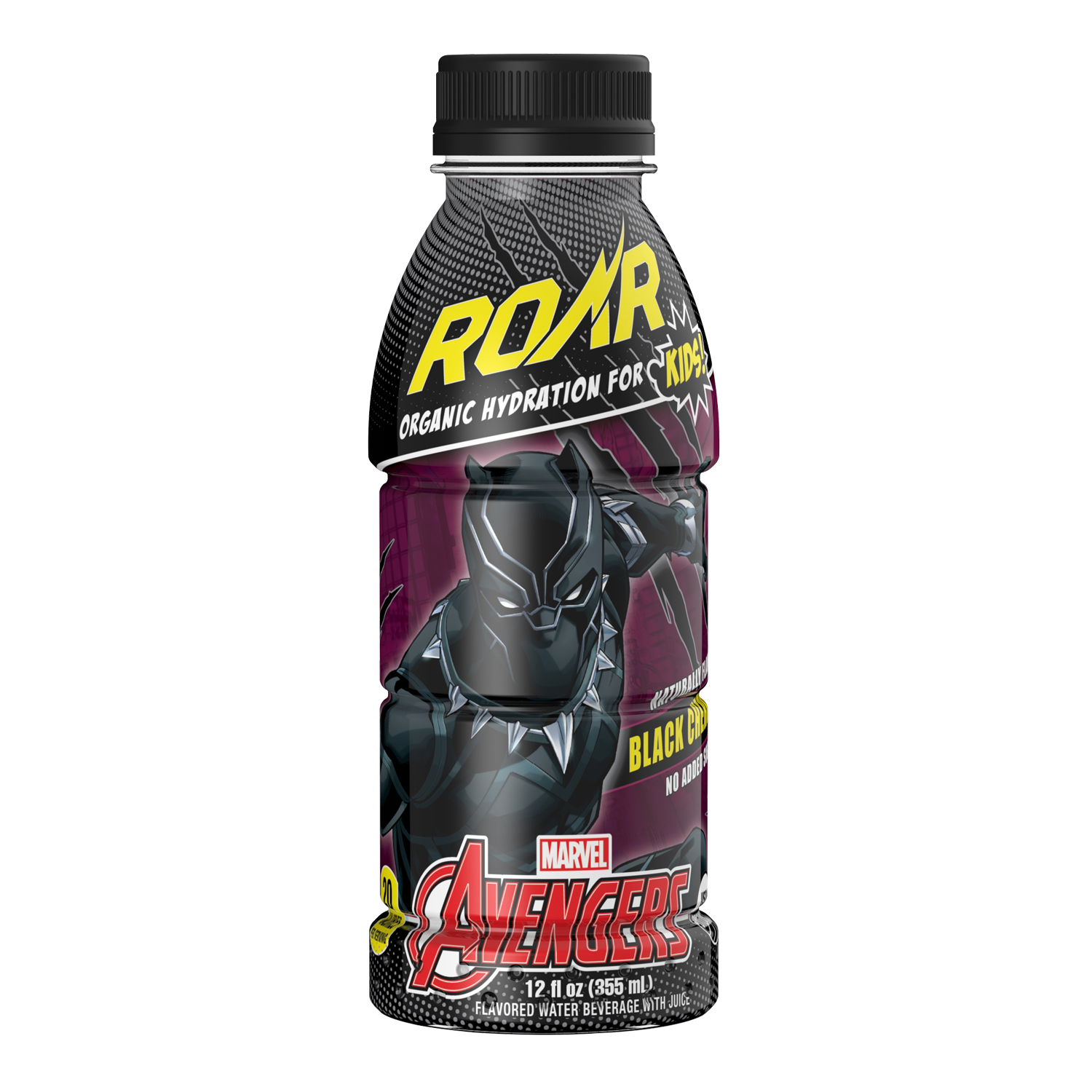 ROAR Black Panther Kids Juice, Black Cherry, 12 Fl Oz, 12 Ct