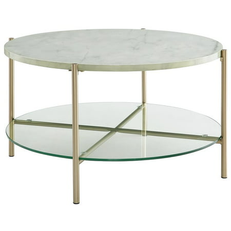 32 Inch Round Coffee Table With White Faux Marble And Gold Legs