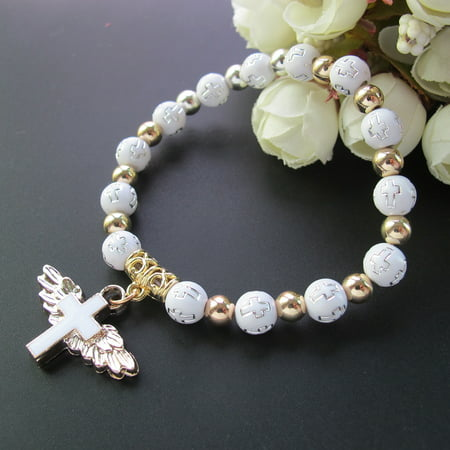 Angel Wing Cross Bracelet Favor (12 PCS) for Boy and Girl - Baptism Favor / Christening Favor / Bautizo Recuerdos Church Event JA227G-Wht (Angel Wing Props)