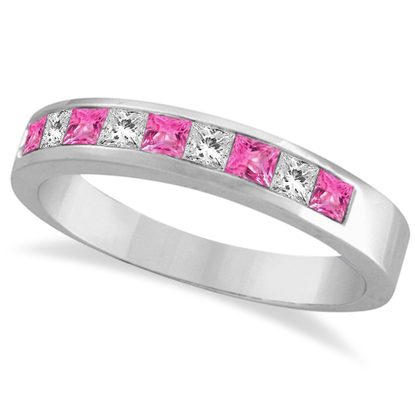 Princess Channel-Set Diamond and Pink Sapphire Ring Band 14k White Gold by