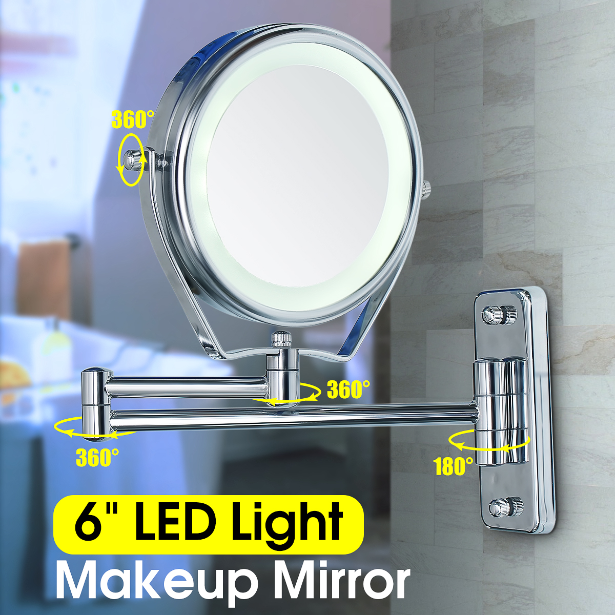 7X Magnifying LED Lighted Stand Wall Mount Swing Arm 6'' Make Up Cosmetic Mirror