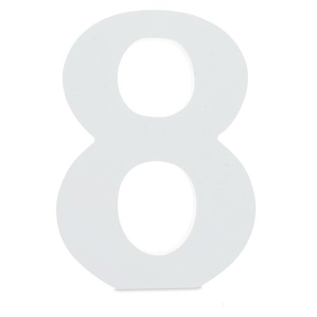 Courier Font White Color Wooden Number 8 (6 Inches)