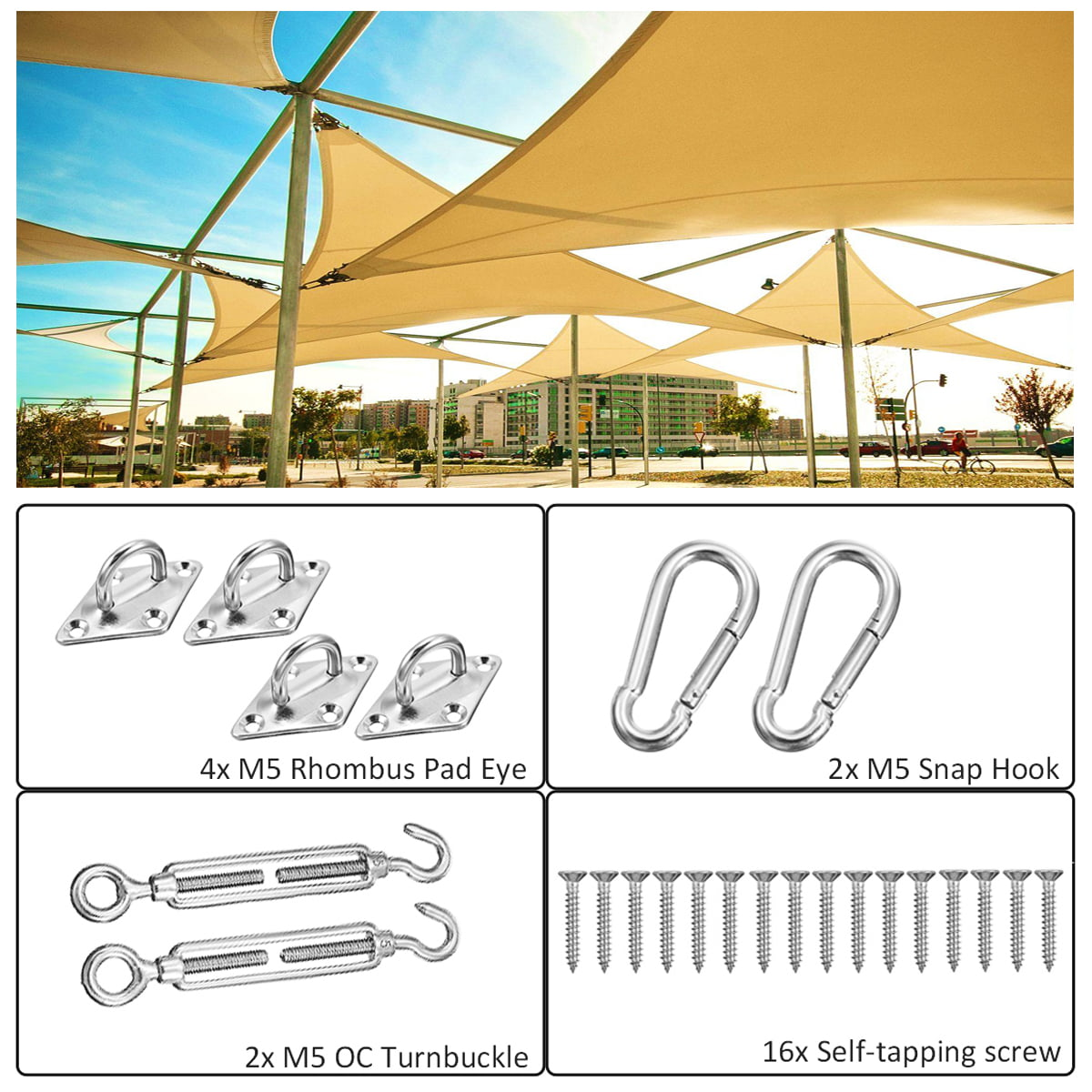 Sun Shade Sail Accessories Fixing Fittings Kits Patio Garden Sun Canopy DIY Tool
