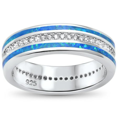 Blue Synthetic Opal Clear CZ Inlay Band Ring Sterling Silver Size 5