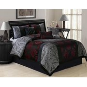 7 Piece SHANGRULA Big Square Patchwork Jacquard Clearance bedding Comforter Set Fade Resistant, Wrinkle Free, No Ironing Necessary, Super Soft, All Sizes Queen King CalKing (Queen, Gray/Red)
