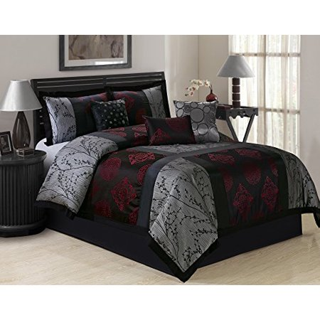 (7 Piece SHANGRULA Big Square Patchwork Jacquard Clearance bedding Comforter Set Fade Resistant, Wrinkle Free, No Ironing Necessary, Super Soft, All Sizes Queen King CalKing (Queen, Gray/Red))