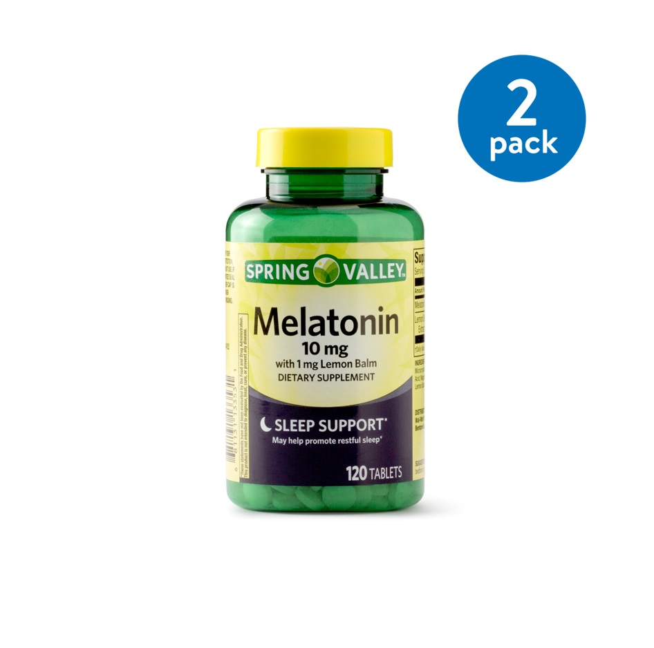 (2 Pack) Spring Valley Melatonin Tablets, 10 mg, 120 Ct