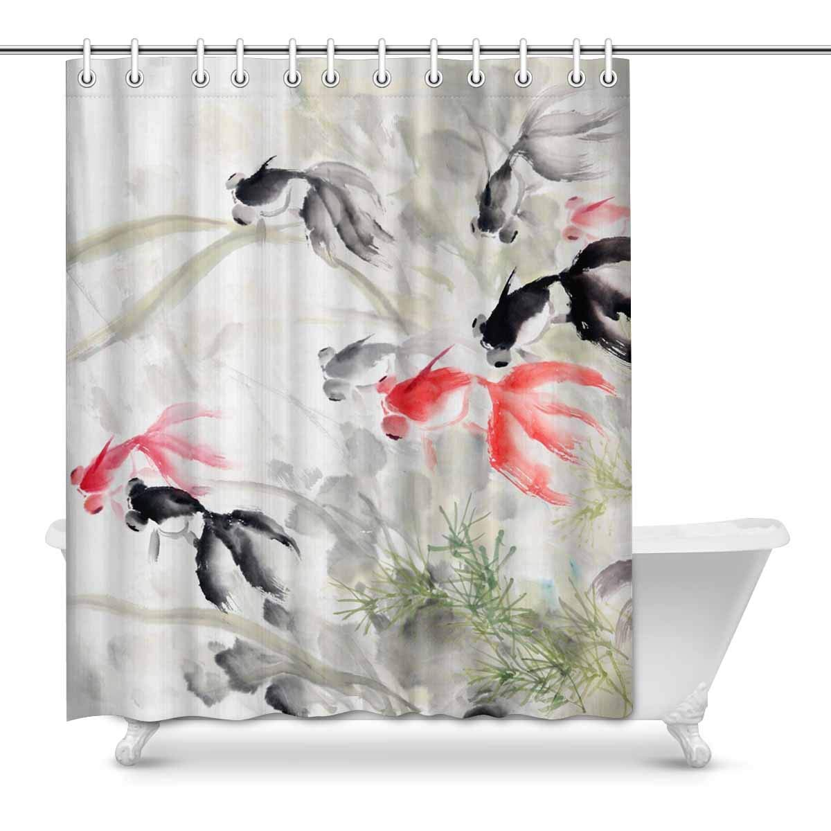 Shower Curtains Colorful Koi Fishes Fabric Curtains 71