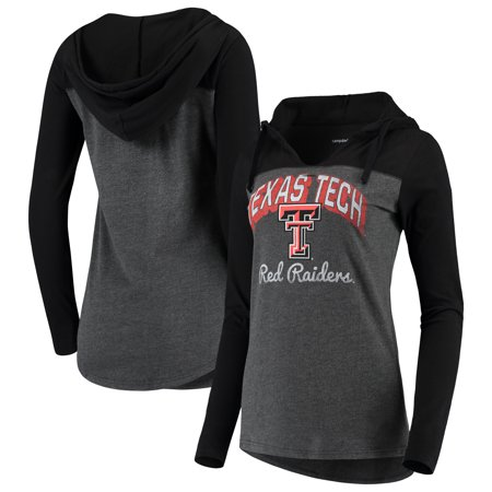 Texas Tech Red Raiders Women's Knockout Color Block Long Sleeve V-Neck Hoodie T-Shirt - Charcoal Texas Tech Colors