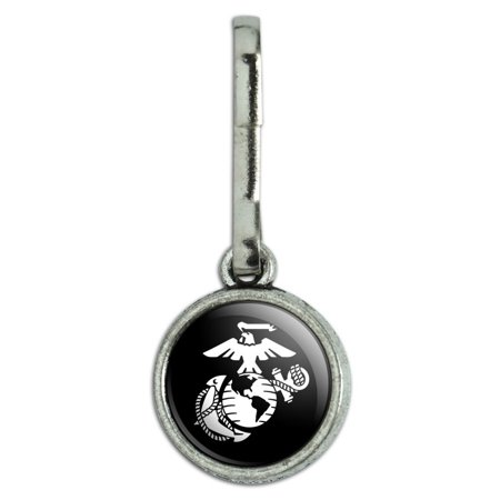 Marines USMC White Eagle Globe Anchor on Black Officially Licensed Antiqued Charm Clothes Purse Suitcase Backpack Zipper Pull Aid