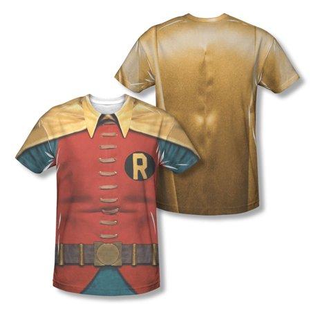 Batman Men's  Robin Costume  Sublimation T-shirt White (Batman And Robin Suits)