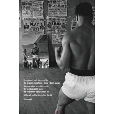 Muhammad Ali Gym Champions Motivational Quote Boxer Boxing Photo Poster 24x36 inch - Muhammad Ali Framed Photo