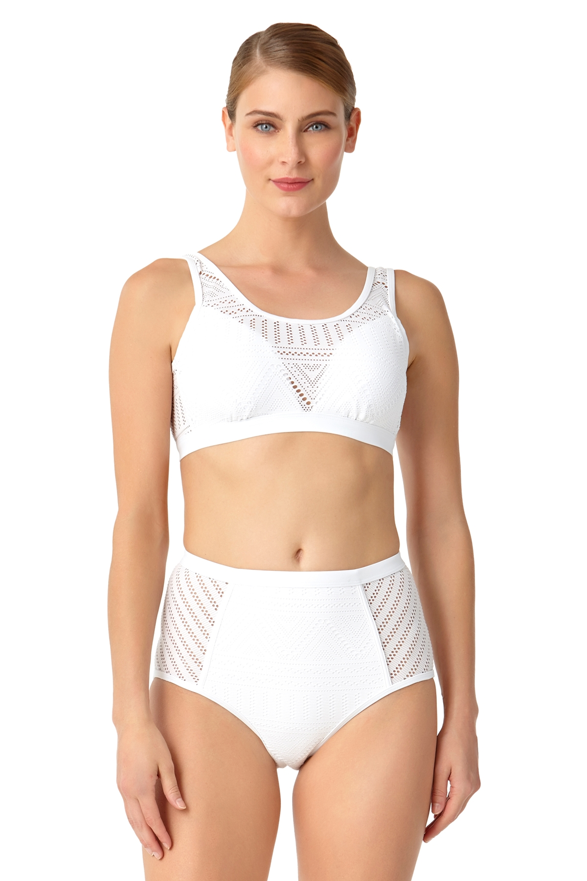 Anne Cole Women's Crochet All Day Over The Shoulder Bralette Swim Top
