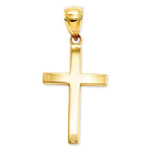 14k Yellow Gold Polished Latin Cross Pendant