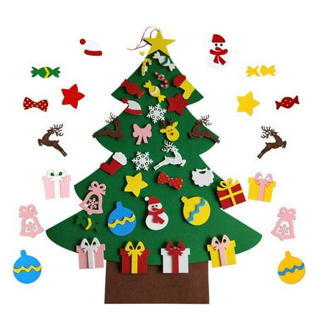 DIY Christmas Tree Sticker Kit With Small Removable Ornaments Felt Xmas Hand Craft Decorations Felt Ornaments Patterns