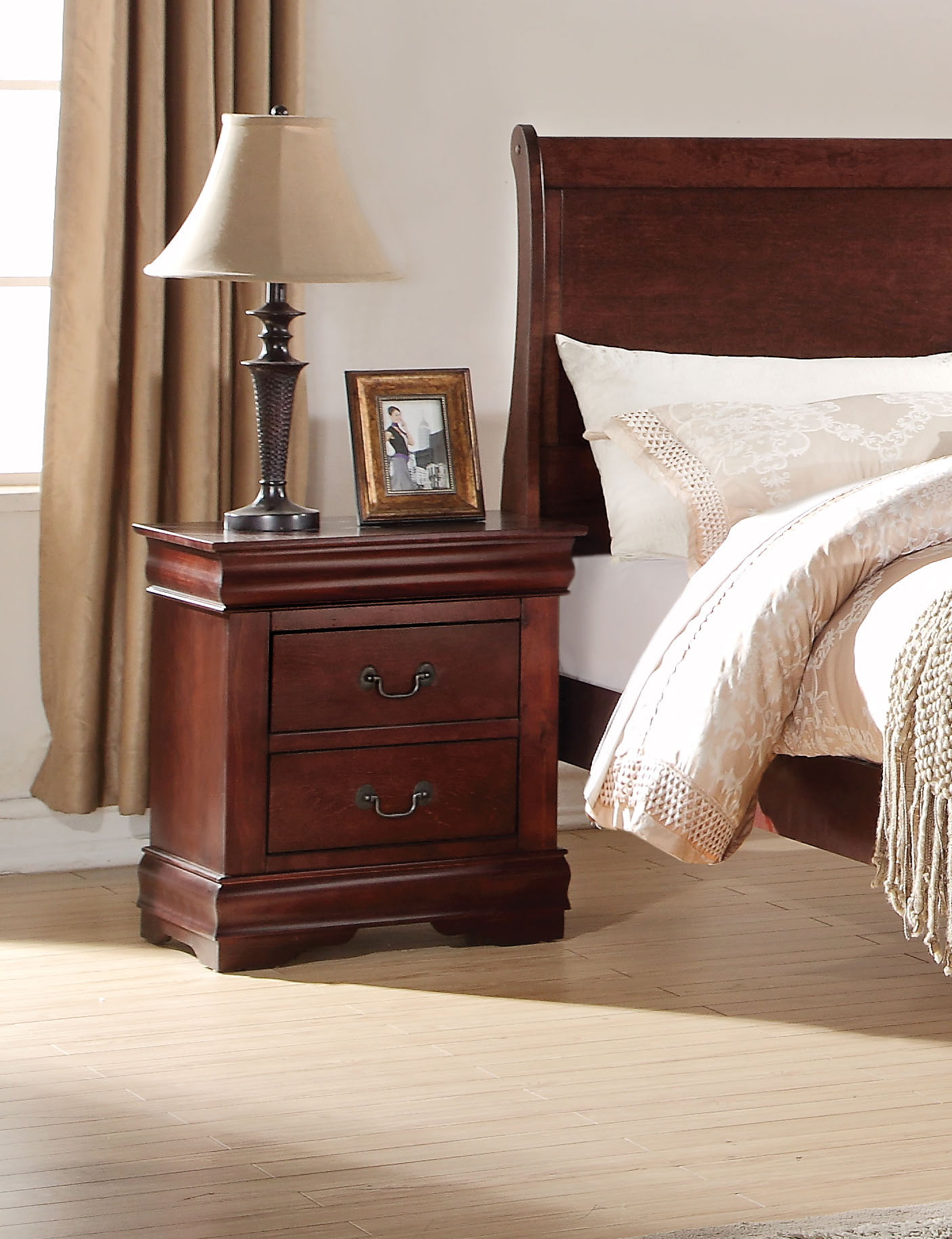 Acme Louis Philippe 2 Drawer Nightstand Multiple Finishes Walmart Com Walmart Com
