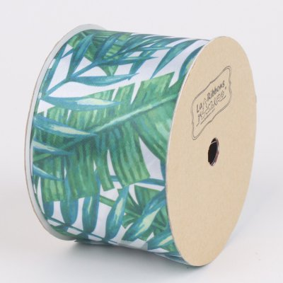 LaRibbons 2'' Banana Leaf Printed Satin Ribbon White/Green 10 Yard Spool ()