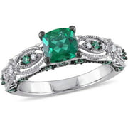 1-1/8 Carat T.G.W. Created Emerald and Diamond-Accent 10kt White Gold Miligrain Design Vintage Engagement Ring