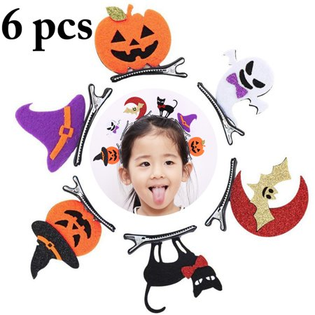 Justdolife 6PCS Halloween Hair Clip Bat Pumpkin Skull Hair Barrette Hair Pins Party Accessories Supplies for Children Kids
