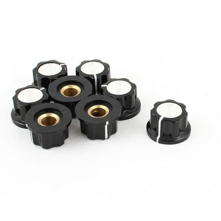 Unique Bargains 8pcs 16mm Cap Top 6mm Shaft Insert Dia Plastic Nonslip Potentiometer Rotary Knob