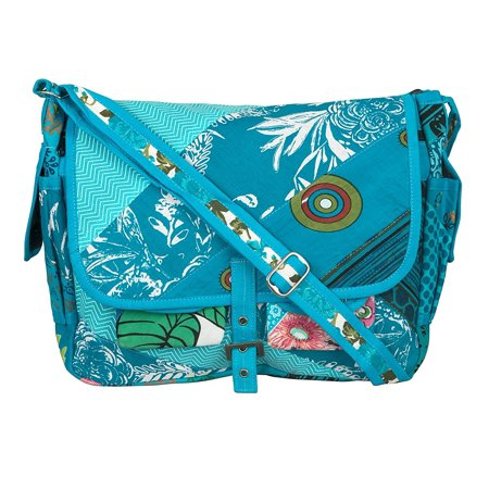 Tribe Azure Large Blue Patchwork Canvas Crossbody Messenger Hobo Shoulder Bag Travel Laptop School Versatile Pockets Multi-functional Adjustable Satchel Boho ()