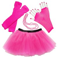 Neon Orange So Sydney Womens Teen 80's Costume & Accessories - Tutu, Leg Warmer,s Fishnet Gloves, & Beads