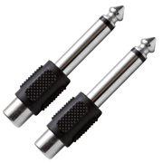 """Seismic Audio  2 Pack RCA Female to 1/4"""" TS Male Adapters Audio Cable Converters Black - SAPT100-2Pack"""