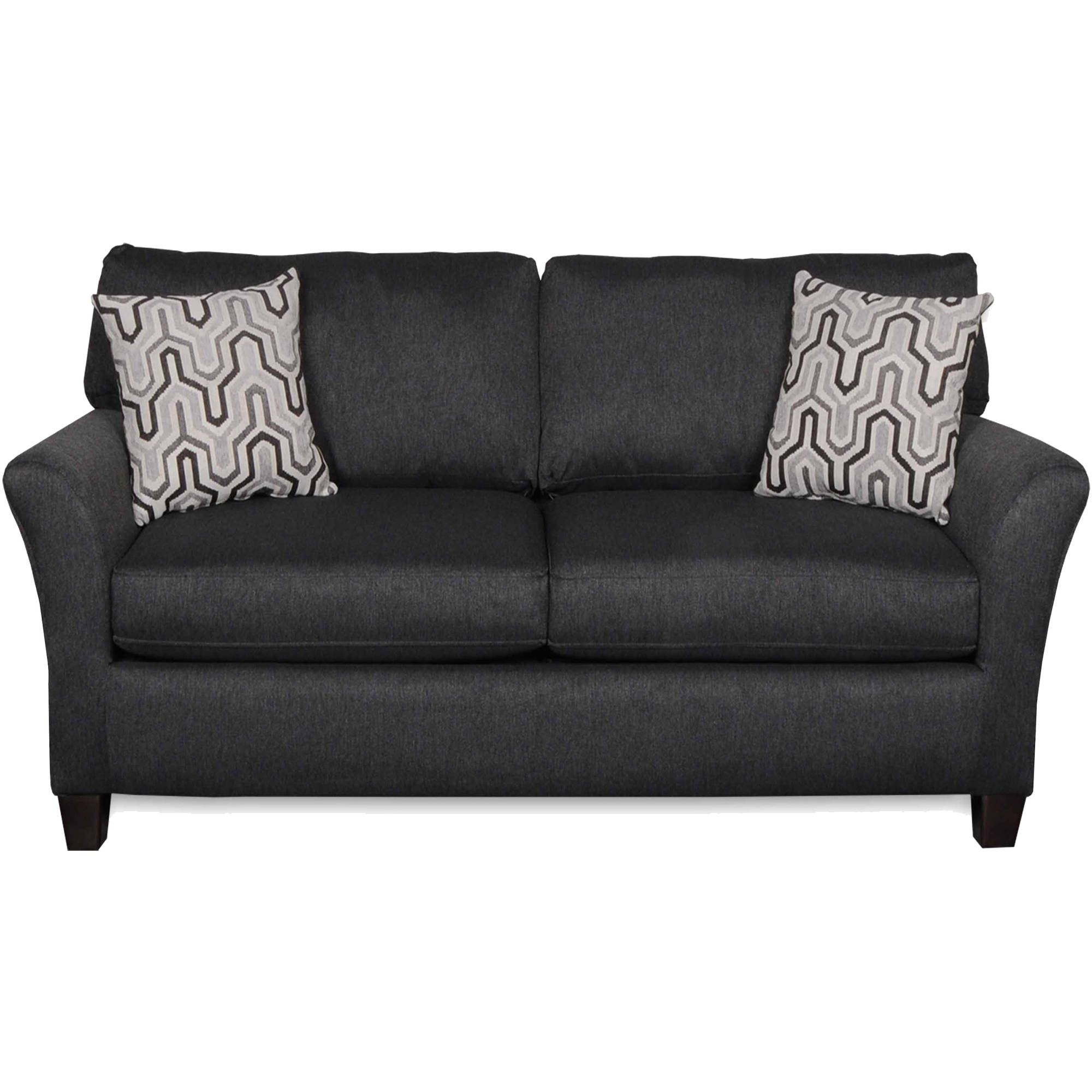 SoFab Shag II Dark Grey Love Seat with 2 Reversible Accent Pillows
