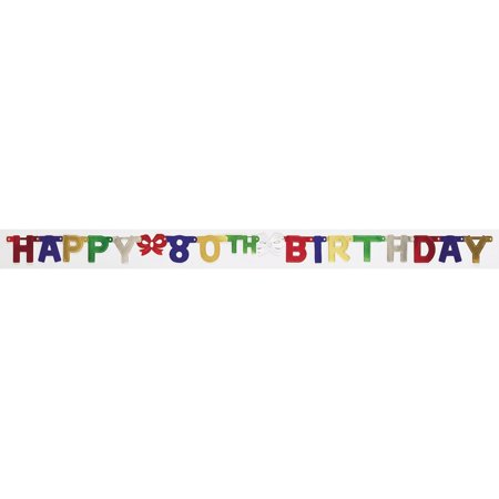 Jointed Banner Small Happy 80th Birthday