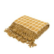 "51"" x 71"" Yellow Gold and Cream Fringed Cotton Throw Blanket"