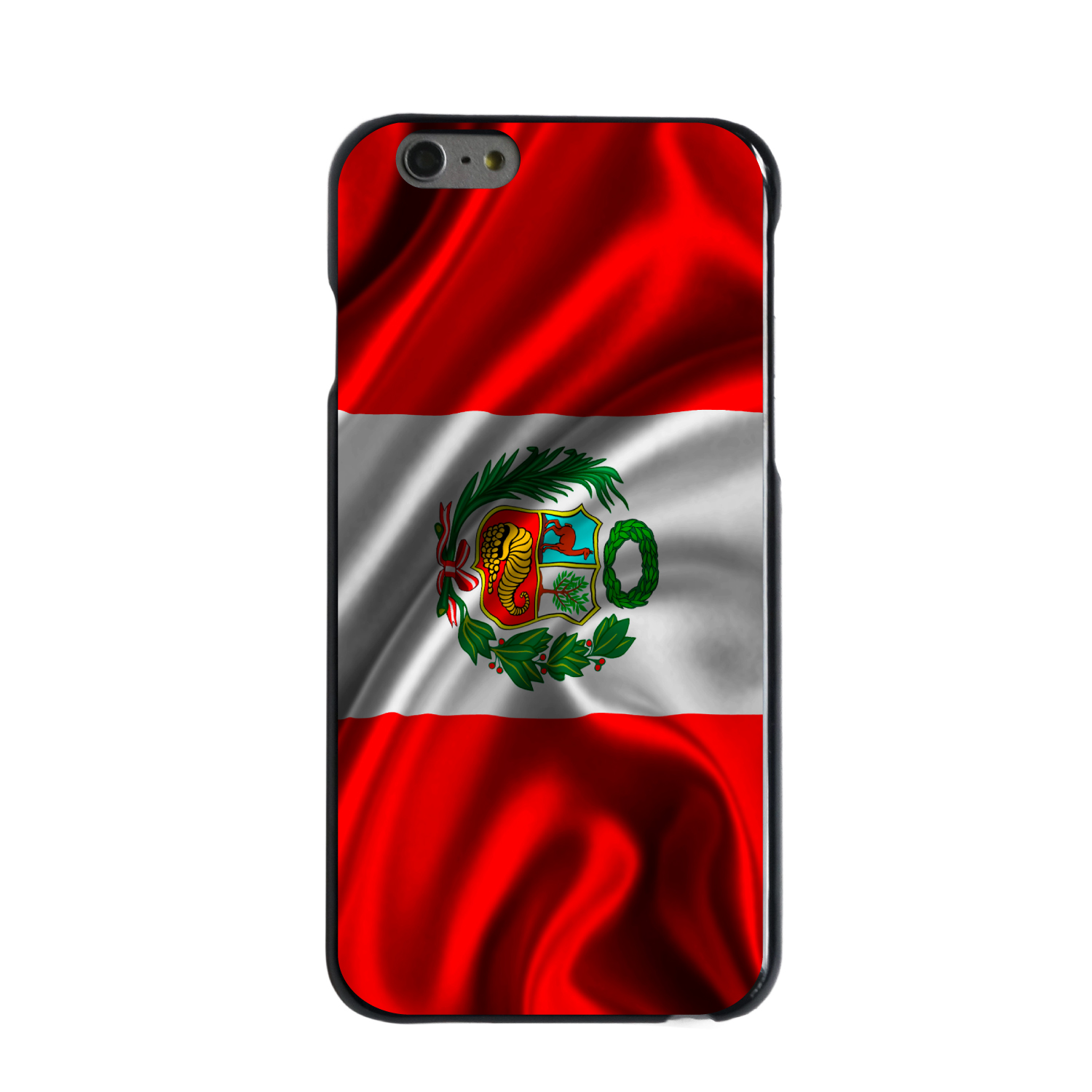 "CUSTOM Black Hard Plastic Snap-On Case for Apple iPhone 6 / 6S (4.7"" Screen) - Peru Waving Flag"